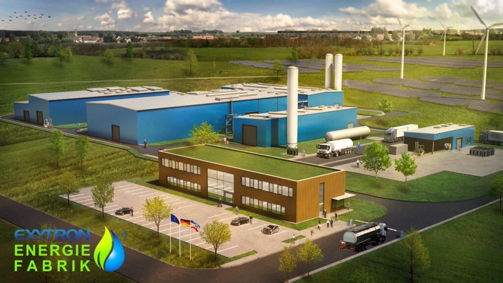 Darstellung EXYTRON Energiefabrik mit Produktionshallen, Solar- und Windpark